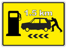 Next Gas Station. Humorous Sign Post 1.5 km to the next Service Station Royalty Free Stock Photography