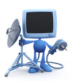 'Next Gen' of a Home TV - Self-Plugging System ). Cartoon Man with the old-fashioned tv set instead of a head, holding the electric power plug and the mobile vector illustration