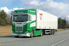 Next Generation Scania S450 of Ahrens on the Road Stock Photo
