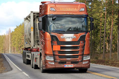 Next Generation Scania S730 Semi on the Road Up Front Royalty Free Stock Image