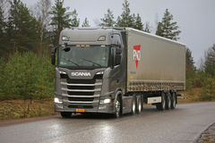 Next Generation Scania Semi Truck on Rural Highway Stock Image