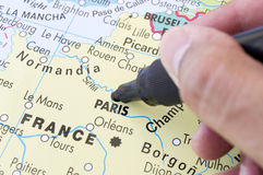 Next holiday destination in Paris. Marking on a map next holiday destination in Paris Stock Photography