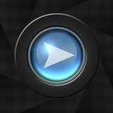 Next icon. Blue icon with an arrow over aperture style background vector illustration