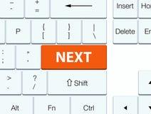 Next orange keyboard button. Next isolated on orange keyboard button abstract illustration Royalty Free Stock Photography