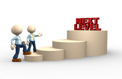Next level. 3d people - man, person climbs the ladder of next level Royalty Free Stock Photo