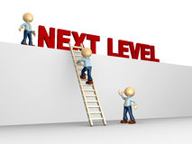 Next level. 3d people - man, person with ladder. Next level. Progress concept Stock Photos