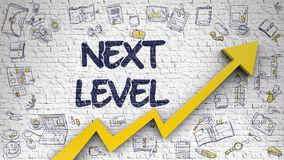 Next Level Drawn On White Brickwall. 3D. Stock Photography