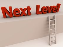 The next level promotion. Words next level on a wall, approachable by a 3d ladder. promotion and raise concept royalty free illustration
