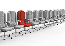 Next in line. 3D render of red office chair in row of white ones royalty free illustration