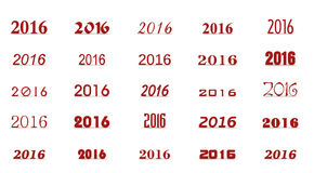 Next new year. 2016 in various font styles Royalty Free Stock Photo