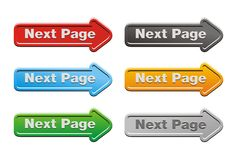 Next page button sets - arrow buttons Royalty Free Stock Photo