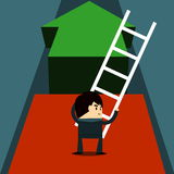 Next Step. Businessman use ladder for goal - business concept Stock Photos