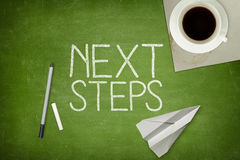 Next step concept on green blackboard Royalty Free Stock Photo