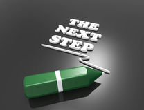 The Next Step 3d word concept with green pencil. On black Royalty Free Stock Image