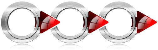 Next Step Round Metal Box with Red Arrows. Next step with three circular metal boxes and red arrows Royalty Free Stock Image