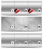 Next Step - Set of Metallic Headers. Three horizontal metallic banners or headers with three steps box and numbering Stock Photo