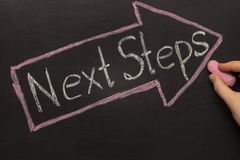 Next Steps - Chalkboard with arrow on black Royalty Free Stock Image