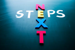 Next steps concept. Words on blackboard Stock Image