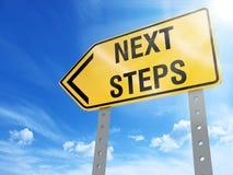 Next steps sign. On blue sky background,3d rendered Stock Images