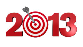 Next Target 2013. Next New Year 2013. Number with red and white target, one dart hits the center of the target - 3d render illustration - success in business royalty free illustration