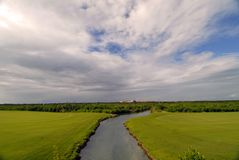 Next Tee. View on golf couse in Mexico, Mayakoba El Camaleon Royalty Free Stock Photo