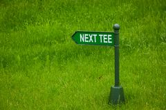Next tee sign on the golf course Stock Image