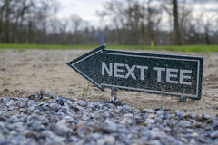 Next tee sign on the golf course Royalty Free Stock Image