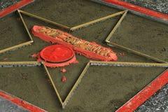 Next Walk of Fame star. Zoe Saldana star under construction for use in near future Stock Image