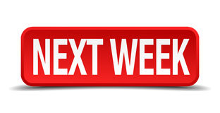 Next week red 3d square button Stock Photography