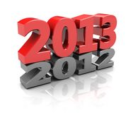 Next year. Red 2013  over grey 2012, new year concept Royalty Free Stock Images