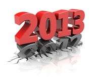 Next year. Red 2013  destroy number 2012, new year concept Royalty Free Stock Images