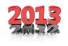 Next year. Red 2013 dent number 2012, new year concept Stock Images