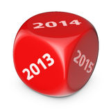 Next year. Next 2014 year concept. Big red dice with options Stock Illustration
