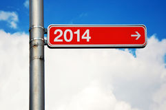 Next year. Street sign with number two thousand and fourteen (2014), next year concept Stock Photo
