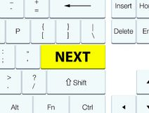 Next yellow keyboard button. Next  on yellow keyboard button abstract illustration Royalty Free Stock Image