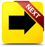Next yellow square button red ribbon in corner. Next isolated on yellow square button with red ribbon in corner abstract illustration Royalty Free Stock Photos