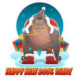 2016 Ney Year greeting card with monkey Santa. In cartoon style. Vector EPS10 Stock Illustration