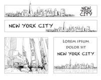 Ney York City Skyline Banner Layout Stock Image
