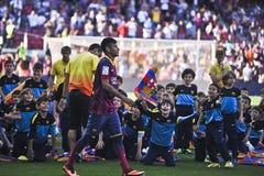 Neymar小正式介绍当巴塞罗那足球俱乐部球员 库存图片