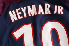 Neymar达席尔瓦桑托斯Júnior巴黎圣日耳曼球衣 库存照片