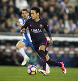 Neymar Da Silva of FC Barcelona. During a Spanish League match against RCD Espanyol at the RCDE Stadium on April 29 2017, in Barcelona Spain Royalty Free Stock Photo