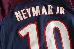 Neymar DA Silva Santos Júnior Παρίσι Άγιος-Ζερμαίν Τζέρσεϋ Στοκ φωτογραφία με δικαίωμα ελεύθερης χρήσης