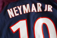 Neymar DA Silva Santos Júnior Parijs heilige-Germain Jersey Stock Foto