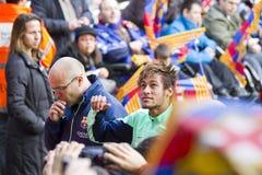 Neymar an der FC- Barcelonaschulungseinheit stockbild