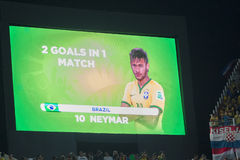 NEYMAR IN THE FIFA WORLD CUP BRAZIL 2014. Neymar after his second goal in the first game of the World Cup: Brazil x Croacia royalty free stock photo