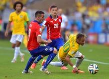 Neymar jr and Charles Aránguiz Coupe du monde 2014 Royalty Free Stock Images