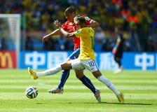Neymar jr and Francisco Silva Gajardo Coupe du monde 2014 Stock Image