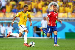 Neymar jr and Francisco Silva Gajardo Coupe du monde 2014 Stock Images