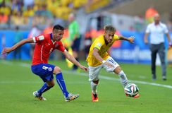 Neymar jr and Francisco Silva Gajardo Coupe du monde 2014 Stock Photo