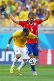 Neymar jr and Francisco Silva Gajardo Coupe du monde 2014 Royalty Free Stock Photos
